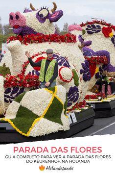 Saiba como assistir à Parada das Flores que passa em frente ao Keukenhof, na Holanda. Mapa com rota do desfile, horários, melhores lugares para ver o desfile e eventos paralelos ao desfile das flores. #amsterdam #thenetherlands #keukenhof #holanda #primavera #tulipas