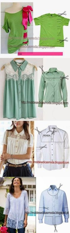 Upcycled men's shirts into women's