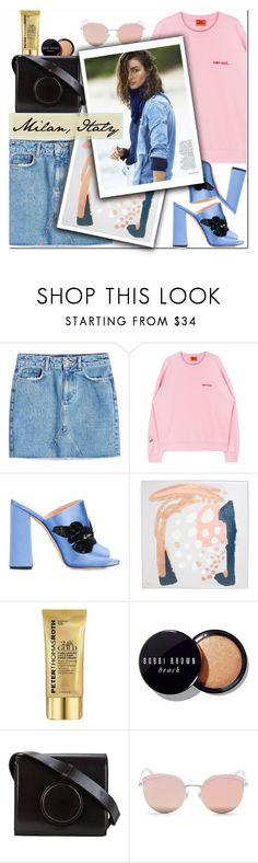 """""""How to Style a Denim Cutoff Skirt with a Pink Sweatshirt, Blue Mules and Pink Sunglasses for Travel to Milan, Italy this Summer"""" by outfitsfortravel ❤ liked on Polyvore featuring Anine Bing, Rochas, Peter Thomas Roth, Bobbi Brown Cosmetics, Lemaire and Stephane + Christian"""