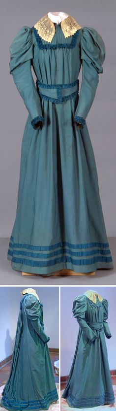 Day dress, ca. 1890s. Teal with cream lace. Vassar College
