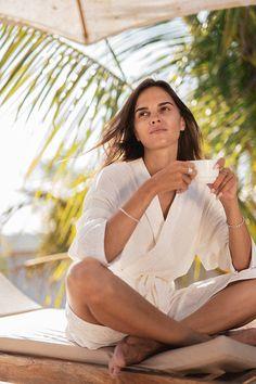 Župan z organickej bavlny / PLZR - SAShE.sk - Handmade Pyžamy a župany Summer Essentials, Angeles, White Dress, Handmade, Dresses, Fashion, Vestidos, Moda, Angels