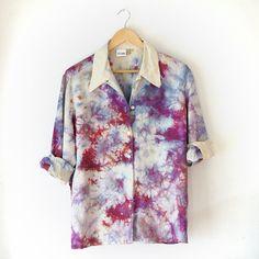 Hand Dyed Shibori Silk Long Sleeved Top - Button Up - Medium on Etsy, $65.00