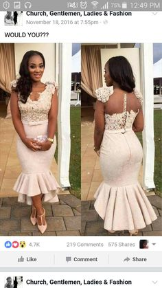 Light Pink Lace Mermaid Prom Dresses Tea Length Party Gowns Appliques Flowers Short Bridesmaid Dresses sold by June-Bride. Mermaid Prom Dresses Lace, Short Bridesmaid Dresses, Wedding Dresses, Lace Mermaid, Bride Dresses, Dress Prom, Mermaid Wedding, African Fashion Dresses, African Dress