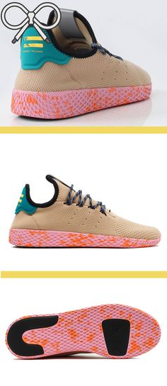 0f469bbafdb3a The slick Pharrell Williams shoes in the tan multi-color variant.