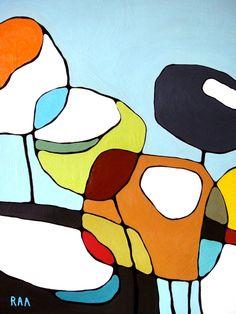 Coquelicots sur Blue Print / / Modern Art pavot / par rachelaustin