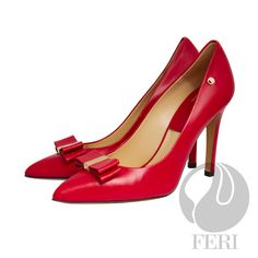 FERI - BONITA - SHOES - Red - Napa leather pump with stiletto heel - Napa leather sole and insole - Colour: Red - FERI logo hardware on sole, outside of heel and on toe bow - Heel height: 4.5 inches  Invest with confidence in FERI Designer Lines. www.gwtcorp.com/ghem or email fashionforghem.com for big discount