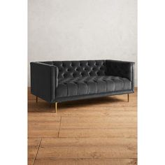 Anthropologie Velvet Mina Settee ($1,998) ❤ liked on Polyvore featuring home, furniture, sofas, charcoal, charcoal couch, dark gray sofa, charcoal grey sofa, charcoal grey couch and velvet furniture