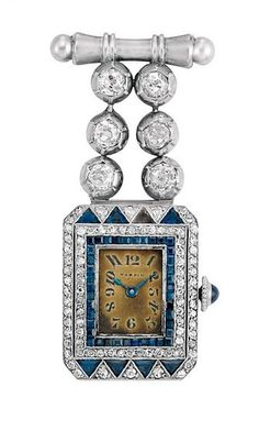 Art Deco Platinum, White Gold, Diamond and Sapphire Lapel Watch, Mappin 6 diamonds ap. .80 ct., dial signed Mappin, c. 1920