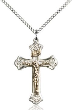 F A Dumont 14kt Gold Filled Cross Pendant with 18 Gold Filled Lite Curb Chain.