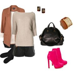 Blazers: Leather shorts with tights and hot pink booties