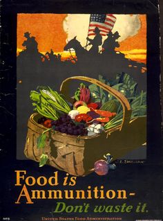 """Vintage Victory Garden Poster """"Food is Ammunition, Don't Waste it!"""" Herbert Bayer, 1943, NYC WPA War Services #victorygarden #wwii"""