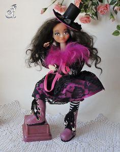 Polymer clay dancer textile doll/ оoak