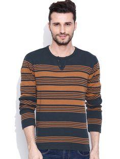 Dream of Glory Inc. Navy & Rust Brown Striped T-shirt