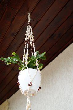 Shell Macrame Plant Hanger Flower Pot Holder by vintagdesign