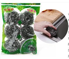 free shipping,8 sets ( total 48pcs)dishes in a pan stainless steel wool cleaning brush ball