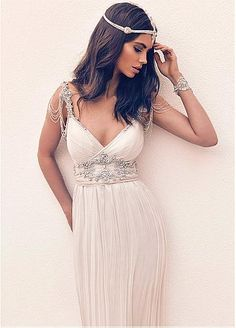 Exquisite Silk-like Chiffon Spaghetti Straps Neckline A-line Wedding Dresses…