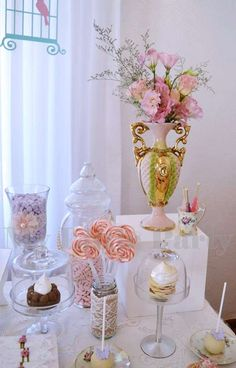 Pretty shabby chic baptism party! See more party planning ideas at CatchMyParty.com!