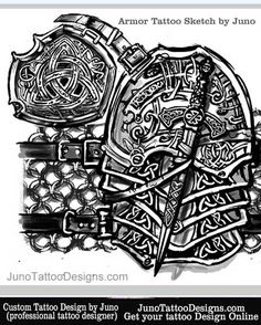 armor celtic tattoo sketch by JunoTattooDesigns - Custom tattoos online made to order - http://junotattoodesigns.com/