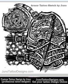 armor celtic tattoo sketch by JunoTattooDesigns -  Custom tattoos online made to order - http://junotattoodesigns.com/