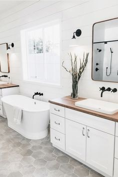 What's your favorite detail in this bathroom design? We can't decide between the Shaker White double vanities, the butcher block counter tops, the grey hexagon floor tile, or the shiplap wall 😍 Too many great features to choose from! Minimalist Bathroom Design, Bathroom Interior Design, Home Interior, Interior Decorating, Minimalist Design, Decorating Bathrooms, Interior Colors, Minimalist Interior, Decorating Ideas