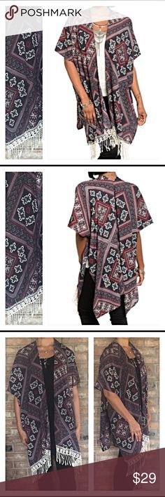 """Gorgeous Fringe Hem Cardigan Cape Poncho SML WOW! Wear this gorgeous cardigan/kimono cape poncho all year long with your favorite tank or long sleeve tee. Super trendy fringe front hem & tribal print in charcoal, burgundy & Ivory.  Nice quality  non-sheer polyester (not sweater material) Brand new from maker without tags  Measurements laying flat Small Bust 22"""" Waist 15 Length 37  Medium  Bust 23"""" Waist 16 Length 37  Large Bust 24"""" Waist 17 Length 38 Jackets & Coats Capes"""