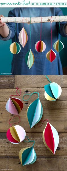 Retro Paper Ornaments - Lia Griffith - www.liagriffith.com #diychristmas #diychristmasdecor #diyornaments #diychristmasornaments #diychristmastree #diyholiday #diyholidays #paper #paperart #papercut #papercraft #papercrafts #papercrafting #madewithlia