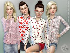 Signature Print Shirt for Girls Found in TSR Category 'sims 4 Female Child Everyday'