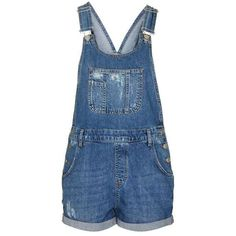 TopShop Moto Short Denim Dungaree ($56) ❤ liked on Polyvore featuring jumpsuits, rompers, overalls, romper, shorts, short overalls, playsuit romper, denim bib overalls, denim overalls and short rompers