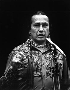 Actor and political activist Lakota Indian Russell Means speaking at the Miami-Dade Community College south campus - Kendall, Florida