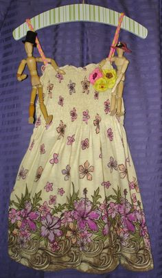 Little Girl's Dress with matching headband - upcycled from a woman's top, t-shirt knit, and buttons