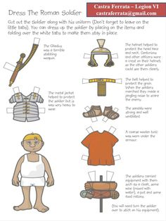 Paper doll of a Roman Soldier provided by the group  Castra Ferrata in the Pacific Northwest.