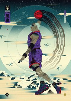 Andrew Archer is the creative force behind Edo Ball, envisioning NBA basketball players in the style of ancient Japanese woodblock prints called, ukiyo-e. Andrew Archer, Japanese Pop Art, Nba Wallpapers, Basketball Art, Sports Graphics, Black Mamba, Sports Art, Woodblock Print, Samurai