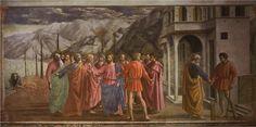 Masaccio ~ De cijnspenning ~ ca. 1427 ~ Fresco ~ Brancacci-kapel, S. Maria del Carmine, Florence