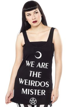 """KILLSTAR WEIRDOS TANK TOP  """"We are the weirdos, mister."""" Grab this Killstar Craft inspired tank dress for your very own! This relaxed fit tank dress features a slouchy fit and can be worn as a short dress or a tunic. $47.00 #killstar #weirdo #goth #occult"""
