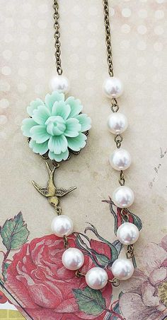 Mint Sakura Flower with Swallow Bird and Swarovski Pearls Bridal Necklace from EarringsNation Vintage Style Weddings Mint Weddings