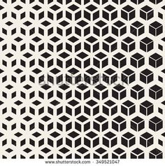 Vector Seamless Black And White Geometric Cube Shape Lines Halftone Grid Pattern Abstract Background