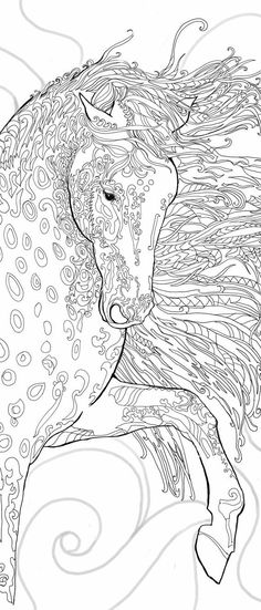 Coloring pages Printable Adult Coloring book Horse Clip Art Hand Drawn Original Zentangle Colouring Page For Download, Doodle art Picture Original by Terri Brand