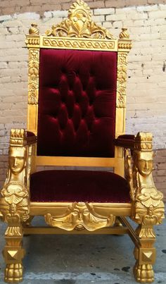 Gold & Blood Red King Ralphs Chair Queen Throne by VENETIANSOCIETY, $1289.00