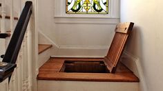 Prohibition-style secret compartment used to hide liquor under the staircase.  Need more hiding spaces.