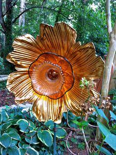 Sparkling Gold Glass Sun Hollyhock Flower by OliviasGardens