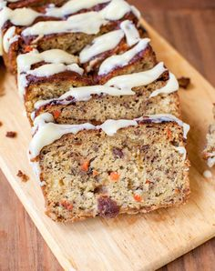 Carrot Pineapple Banana Bread with Browned Butter Cream Cheese Frosting. Moist carrot cake meets sweet and easy pineapple-banana bread.  From Averie Cooks