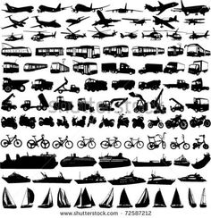 stock vector : transportation silhouettes collection 2 - vector