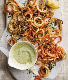 Sweet Potato and Zucchini Haystack | These spiralized potato, sweet potato and zucchini fries make veggies more fun to eat.