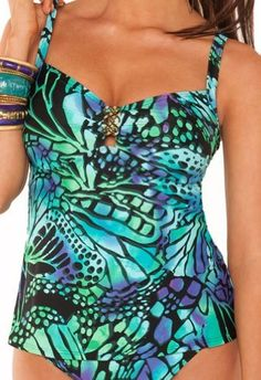 Aerin Rose 227-BUFY Butterfly Adjustable Strap Underwire Tankini, 32F/G Aerin Rose. $49.95. Save 50% Off!