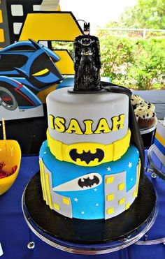 Double decker cake at a Batman Birthday Party!  See more party ideas at CatchMyParty.com!