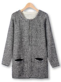 Casual Long Sleeve Loose Two Pockets Knitted Cardigan