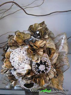 Brooch Bouquets, Gold Brooches, Green Art, Artificial Flowers, Dublin, Wreaths, Rustic, Shop, Handmade