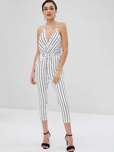 1d2088f152b6 Surplice Striped Tapered Jumpsuit – White S – Fashion is my Profession