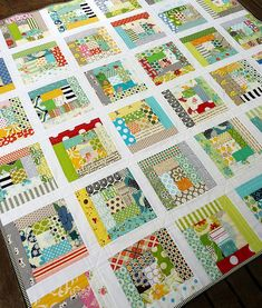 Love this colorful and simple use of bold fabrics...Scrappy Log Cabin front by @Rita - Red Pepper Quilts