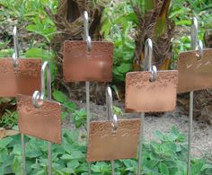 Garden Markers / Plant Markers - Copper - Feathered Friends - Set Of Six - CUSTOM Hand Stamped. $25.75, via Etsy.